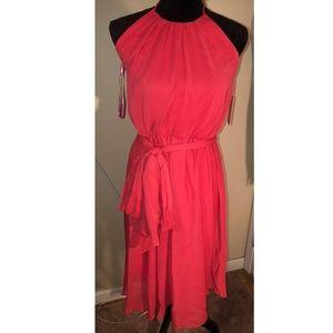 Isaac Mizrahi N.Y. BELTED CHIFFON Halter Dress NWT